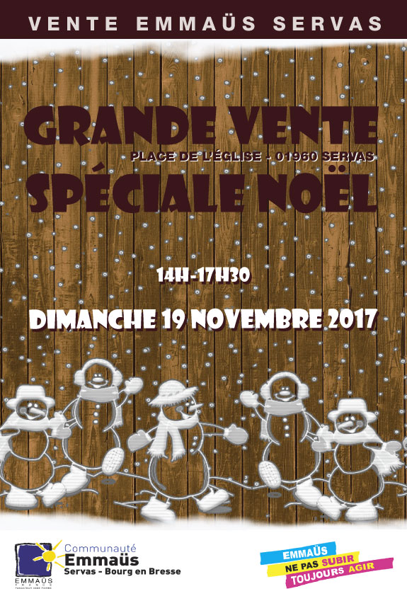 Vente de Noël Emmaüs Servas 19 11 2017