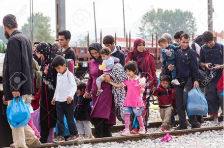 Migrants sur la route en Grèce